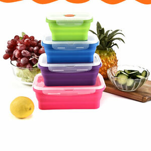 Silicone Collapsible Lunch Boxes Food Storage Container Picnic Rectangle Boxes