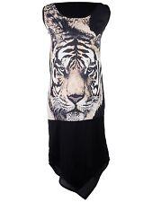 Women S/M Fit Gothy Glam Single Tiger Face V Shaped Hem Sleeveless Dress