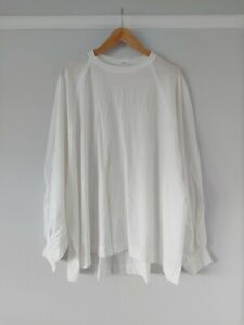Free People Oversized White Long Puff Sleeve Tee Size Xs