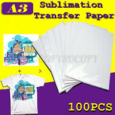 100 Sheets A3 Dye Sublimation Heat Transfer Paper for Polyester Cotton T- Shirt