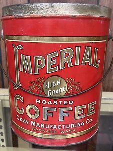 Vtg IMPERIAL COFFEE Tin PAIL -5 Pound Size-Spokane Washington-Red & Gold