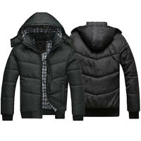 Men Full Zip Padded Hooded Coat Puffer Quilted Jacket Warm Bomber Outwear Wint&+