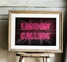 More details for london calling print, neon effect print, the clash poster, london poster