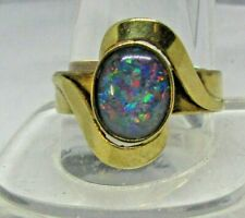 Fine 9ct Gold Vintage BLUE FIRE OPAL Ring Size S.1/4.