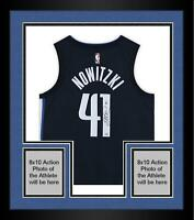Framed Dirk Nowitzki Dallas Mavericks Autographed Navy Nike Authentic Jersey