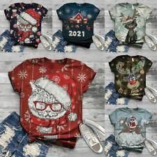 UK Womens Christmas 3D Printed T-shirts Ladies Xmas Short Sleeve Blouse Tee Tops