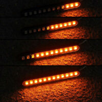Motorcycle Turn Signal Lights Sequential Flowing 12 LED Strip Amber Accessories