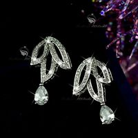 18k white gold gf made with SWAROVSKI crystal wedding stud earrings 925 silver