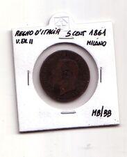 Regno d'Italia 5 centesimi  1861   Milano  V.Emanuele II   MB/BB   (m1088)