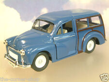 SAICO 1/26 DIECAST MORRIS MINOR TRAVELLER WITH PULL BACK MOTOR IN BLUE OVER 5""