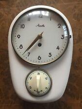alte MAUTHE Küchen-/ Wand- Uhr mit Kurzzeitwecker Keramikgehäuse