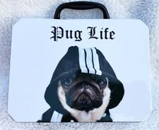 PUG LIFE DOG PAWS TIN LUNCH PAIL BLACK AND WHITE NEW