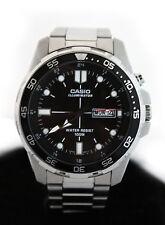 Casio MTD1079-1AV LED Super Illuminator Black Dial Stainless Steel Watch