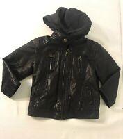 Urban Republic Toddler Boys Faux Leather Moto Jacket w/ Hood Dark Brown Size 24M