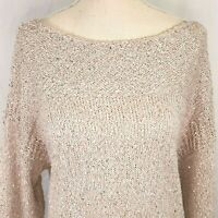 Chicos Blush Sequin Sweater Size 2 Womens 12 or Large Pullover Tunic Knit Euc