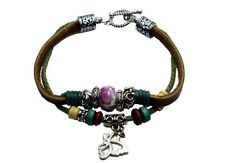 Bracelet Leather Butterfly Charm And Beads