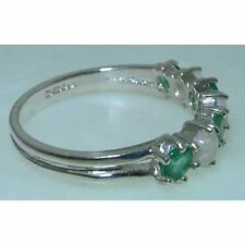 9ct White Gold Ladies Opal & Emerald Anniversary Eternity Ring