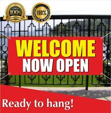 Welcome Now Open Banner Vinyl / Mesh Banner Sign Open To The Public Retail