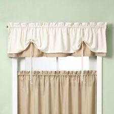 """Versa-Ties Bristol Kitchen Curtain Tier Pair Set & Tie-up Valance Beige 58X24"""""""