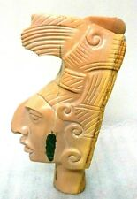 "Magnificent Rare Marble and Malachite Aztec Warrior Head Bust - Signed ""LEEDS"""