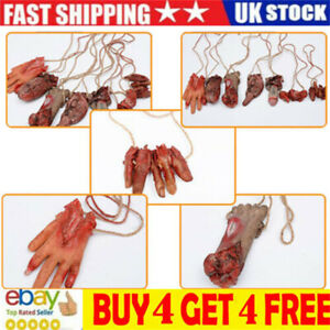 Halloween Hanging Fake Body Bloody Severed Parts Arm Hand Foot Scary Prank ma