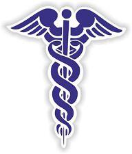 1x Blue CADUCEUS Sticker MEDICAL Pharmacy Symbol Doctor for Car Bumper Door #01