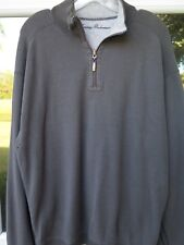 Tommy Bahama Cotton Light Dark Gray Reversible Pullover 1/4 Zip Pullover Sweater