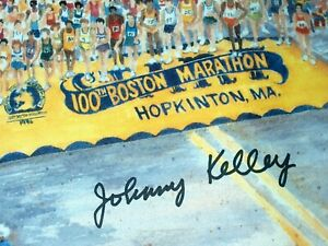 RARE-100th BOSTON MARATHON PRINT BY NANCY C. BAILEY-AUTOGRAPHED BY JOHNNY KELLEY