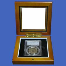 Wood Glass-top Display Box - 1 One Certified PCGS NGC Premier Elite Coin Slabs