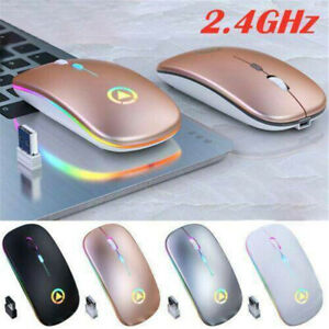 2.4GHz Rechargeable Wireless Mouse Mice Optical Scroll Ultra Slim For PC Laptop