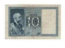 ITALY (REGNO D'ITALIA) Biglietto Di Stato 10 Lire (1935-1944) P-25 VF Banknote