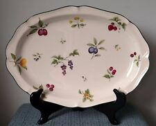 "Noritake ~ ""Fruit Parfait"" ~ 14½"" OVAL SERVING PLATTER ~Off White with Green Rim"