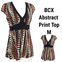 BCX Womens Medium Top Blouse Shirt Abstract Geometric Black Red Brown Tan White