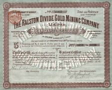 1895 California: The Ralston Divide Gold Mining Company Limited (Placer County)