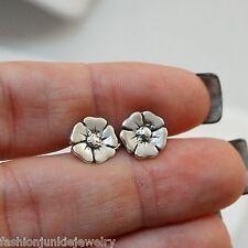 Flower Earrings - 925 Sterling Silver - Post Stud Hibiscus Pansy Earring *NEW*