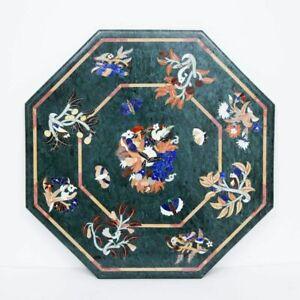 "36"" Marble Table Top Natural Semi Precious Stones Handmade work"