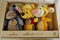 NEW Hallmark Disney Baby Rattle Set Includes Baby Eeyore, Pooh & Tigger