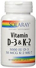 Solaray Vitamin D-3 & K-2 -- 60 Vegetarian Capsules