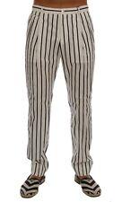NEW $700 DOLCE & GABBANA Pants White Striped Cotton Dress Formal s. IT50 / W36