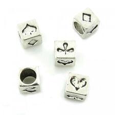 5 European Beads 7mm Kartenspiel Karo Pik Kreuz Herz Karten Perlen Poker Skat