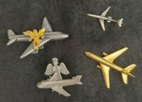 Airplane Lapel Pin Tie Tack Hat Pin Lot of 4 Goldtone & Silvertone Travel Angel