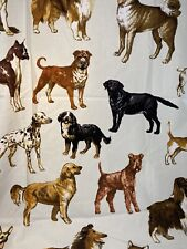 Timeless Treasures Dog White Background Mixed Breed Brown Black Cotton Fabric