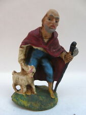 PRESEPE PRESEPIO vecchia statuina cartapesta ITALY uomo bastone pecora 7 cm