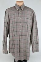 Peter Millar Mens Large Brown Plaid Long Sleeve Button Down Shirt