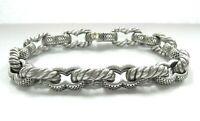 Massive David Yurman Sterling Silver Men's Chain Link Bracelet 18K Gold accent