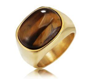 Men Hip Hop / Punk Fashion Tiger Eye Stone Titanium Stainless Steel Ring 9- 12