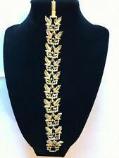 Vintage Silvertone rhineStone  leaves Bracelet  Marked CORO