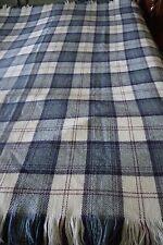 """Unused BLARNEY WOOLLEN MILLS Blue Plaid Wool Throw Blanket 62"""" x 79"""""""