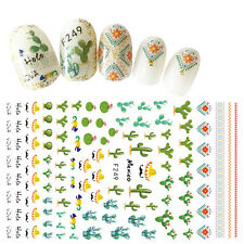 100 Assorted Mexico Style Cactus Nail Decals 3D Nail Art Stickers Summer