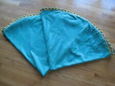 """2 Vintage Round Green Lined Tablecloths/Yellow Fringe- 521/2"""" diameter, Handcraf"""